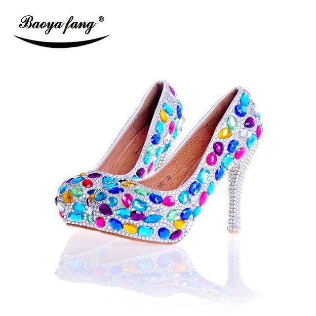 Multicolored Crystal Women Wedding Shoes Bride Fashion Real Leather Insole Female Las Party Dress