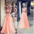 2015 nova Coral Tulle cristal longo Prom vestidos personalizado Backless andar de comprimento querida longa noite vestidos de festa