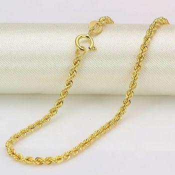 Аутентичные 16 дюймов 18 дюймов 18K желтая Золотая цепь 2 мм звено веревки штамп для цепочек: Au750