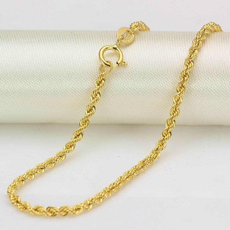 Authentic 16INCH 18K Yellow Gold Necklace 2mm Rope Link Chain Stamp: Au750Authentic 16INCH 18K Yellow Gold Necklace 2mm Rope Link Chain Stamp: Au750