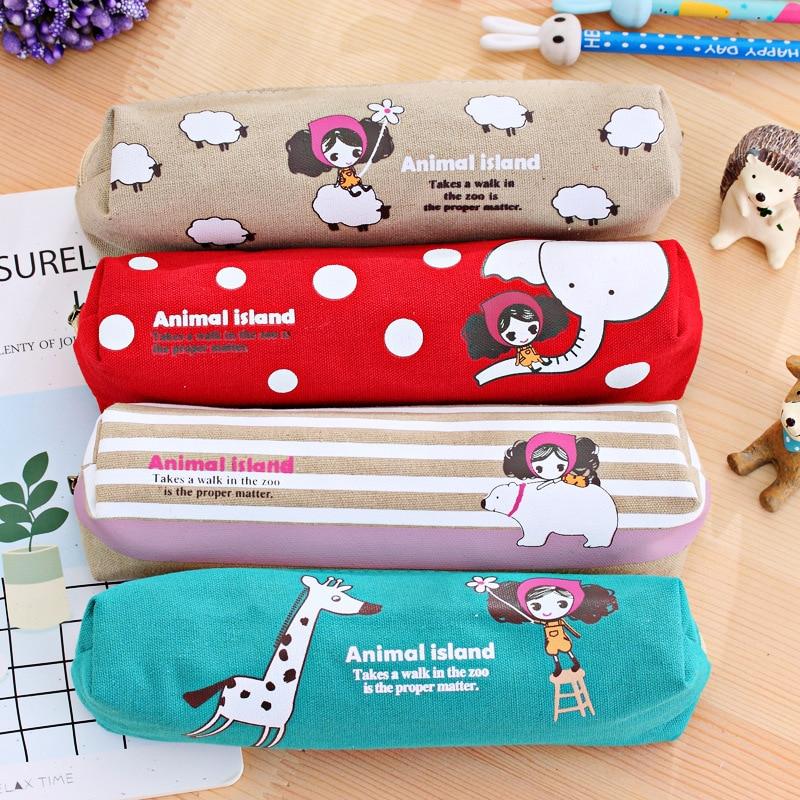 Lovely Girl Canvas Pencil Case Cute Kawaii Cartoon Fabric Zipper Animal Pencil Bag For Kids School Supplies Free Shipping