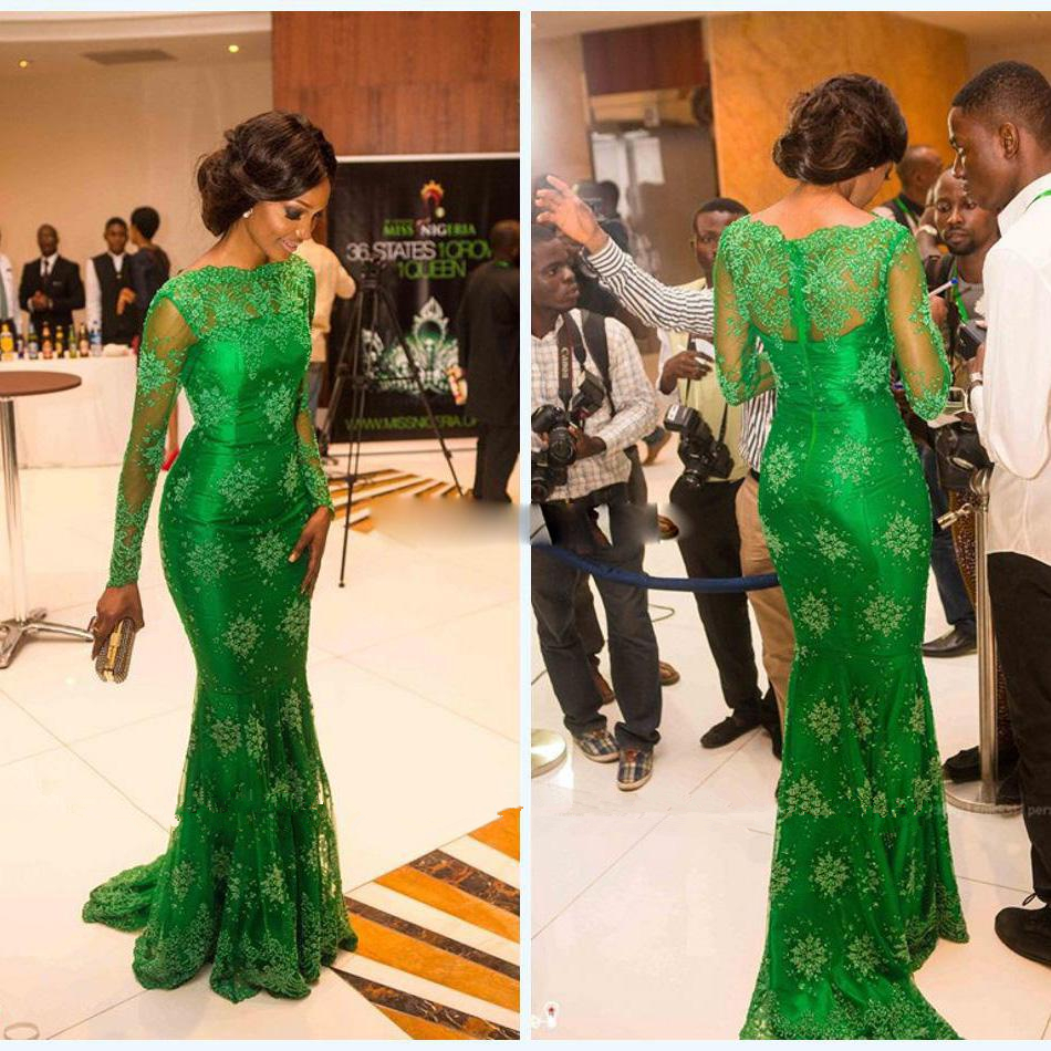Sheer Lace Long Sleeves Evening Gown With Bateau Emerald Green Prom