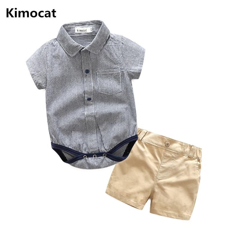 Kimocat Brand Baby Boy Clothes 2 Pcs Infant Jumpsuit Short Sleeve Summer Baby Clothing Set Summer Boy