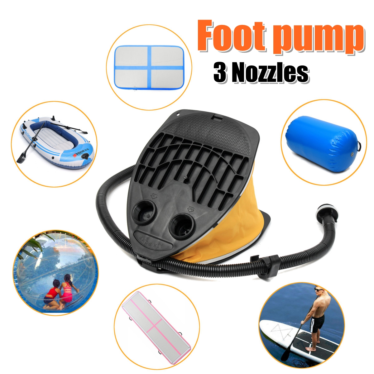 Giant Bellows FOOT PUMP High Volume Bellows Airmatress Boat Foot Pump foot inflate exhaust ef adjustable bellows focusing attachment black