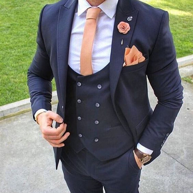2018 Latest Coat Pant Designs Navy Blue Men Suit Formal Wedding Blazer Prom  Gentle Groom Custom Jacket 3 Piece Terno mens suits 3184eb15803e
