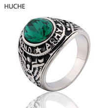 HUCHE Emerald Simulated Gemstone Rings for Men Stainless Steel United States Army Military Ring Punk Jewelry Size 7-11 ZBR045()