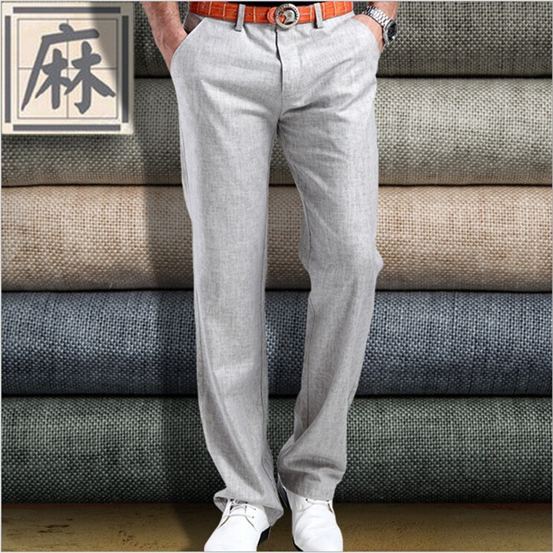 Hot Sale 2017 Summer New Mens Linen Cotton Dress Pants