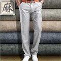 Venta HOT 2015 nuevo verano de algodón para hombre ropa pantalones de vestir Corea Slim Fit de lino inferior recta pantalones casuales hombres pantalones de ocio