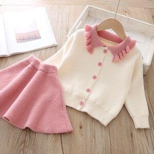 Image 4 - Conjunto de ropa para niña, modelos de otoño e invierno 2019, versión coreana de manga larga de solapa, traje de una sola botonadura, conjunto de ropa para niña