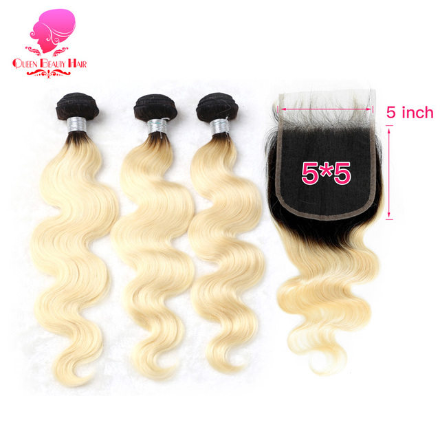 QUEEN 1B 613 Blonde Ombre Color 5x5 Free/Middle Part Lace Closure with 2/3/4 Bundles Brazilian Body Wave Remy Human Hair Weave