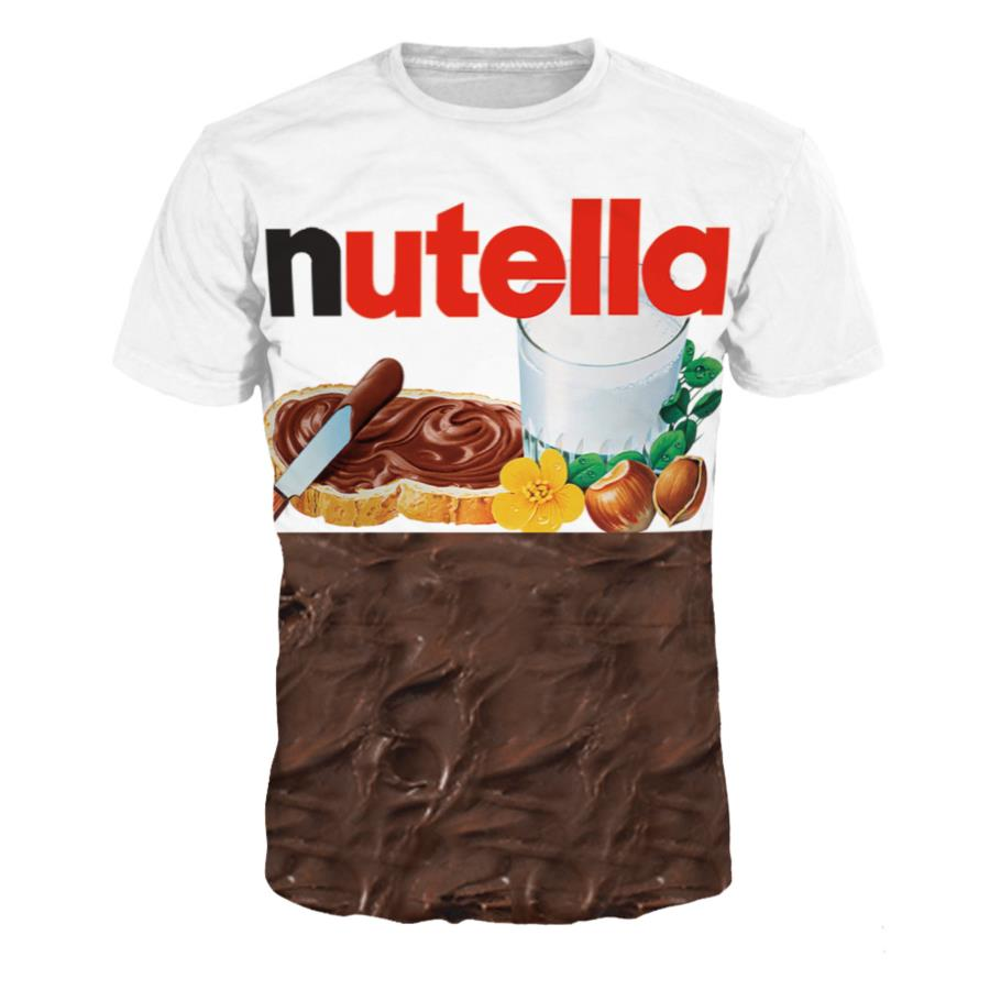 3D T Shirt Nutella Spoof Fun Life Like Food Chocolate Sauce Funny Tees Outfits Tops S-3XL New Design Summer Fashion Women/men
