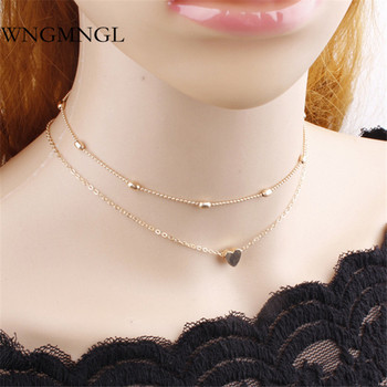 WNGMNGL pequeño corazón gargantilla Collar para mujeres oro plata cadena Smalll amor estela doble collar bohemio encanto Chocker joyería