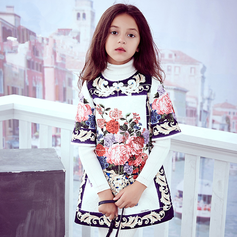 Girls autumn Dresses with  Print 2017 Brand Toddler Dress Children Princess Costume Robe Fille Kids Clothes 4 baby boy girl clothes set toddler kids baby girls print outfit clothes t shirt tops long strip pants 2pcs children clothes set