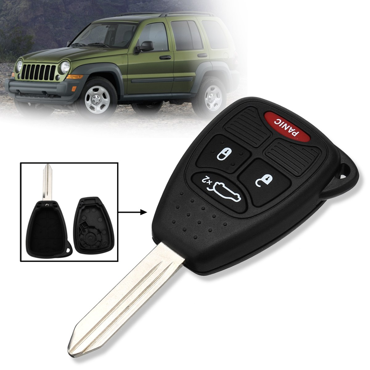 4 Buttons Open Lock Trunk Panic Car Remote Key Fob Case Shell Replacement For Jeep Liberty 2005 2006 2007