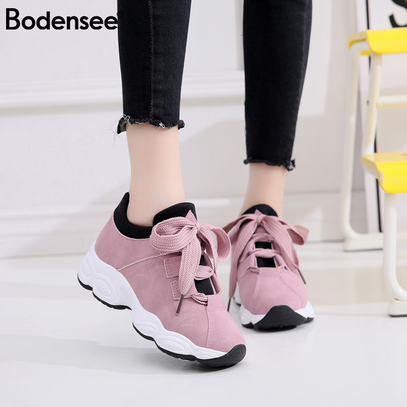 BODENSEE Women Flat Sneakers Breathable Lace Up Canvas Vulcanize Shoes Woman Tenis Feminino Chaussure Femme Platform Shoes