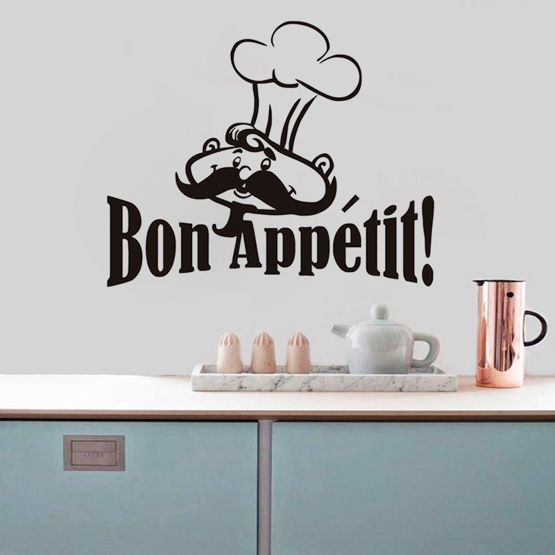 Bon Appetit Funny Cooker French Quotes Food Wall Stickers Living Room Dining Room Restaurants Kitchen Home Decoration Wallpaper