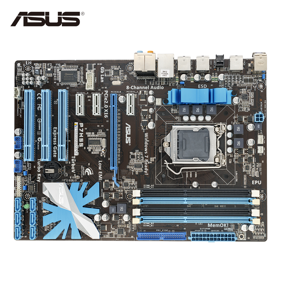 Asus P7H55 Stock New Desktop Motherboard H55 Socket LGA 1156 i3 i5 i7 E3 DDR3 ATX On Sale original new desktop motherboard for asus p7h55 m usb3 h55 support socket lga 1156 i7 i5 i3 maximum ddr3 16gb sata2 2 usb3 uatx