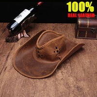 High genuine leather cowboy hats men american hat Casual retro Casual retro First layer cowhide Visor Cowboy Wide brimmed hat