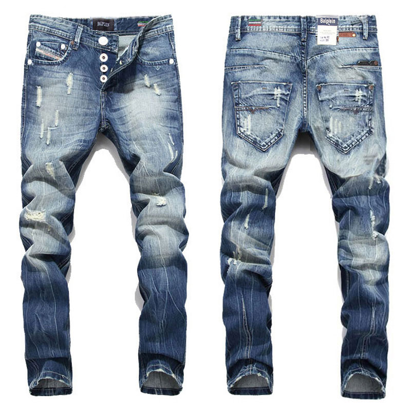 2016 Nye Hot Sale Mote Menn Jeans Balplein Merker Straight Fit Ripped Jeans Italiensk Designer Distressed Denim Jeans Homme! A982