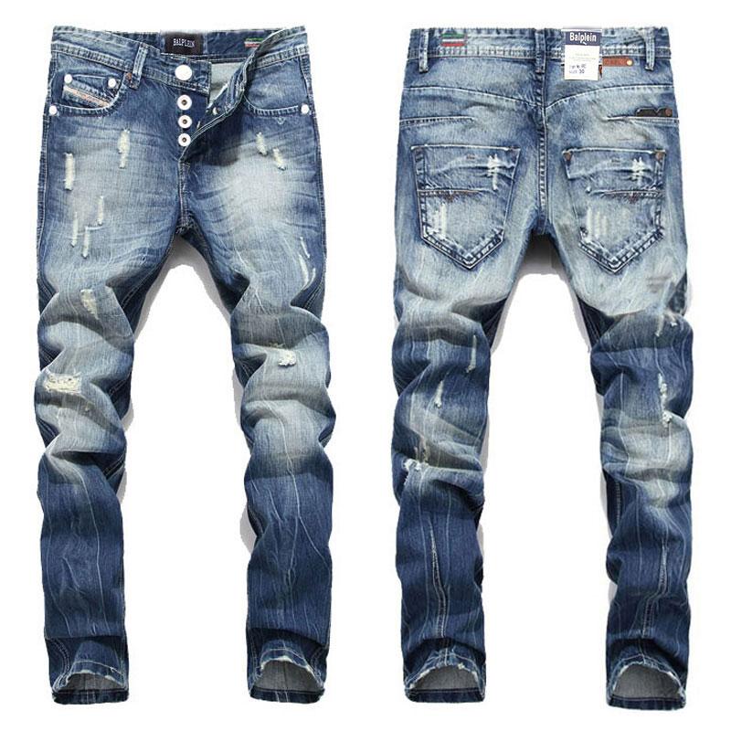 2019 New Hot Sale Fashion Men Jeans Balplein Brand Straight Fit Ripped Jeans Italian Designer Distressed Denim Jeans Homme!A982
