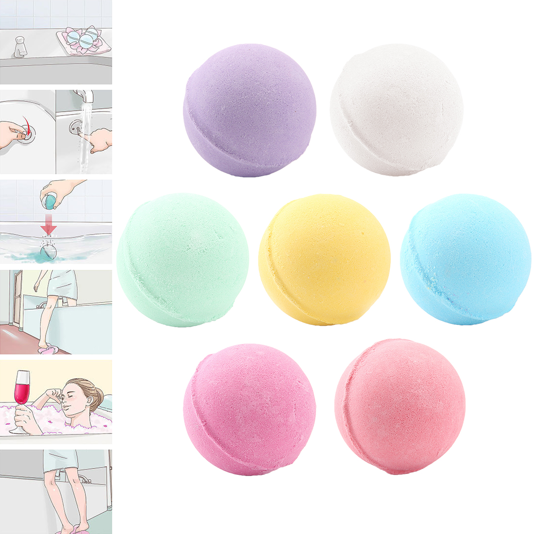 Whitening Shower Bomb 1pcs Deep Sea Bath Salt Body Essential Oil Bath Ball Natural Bubble Bath Rose Green Lemon Milk Random