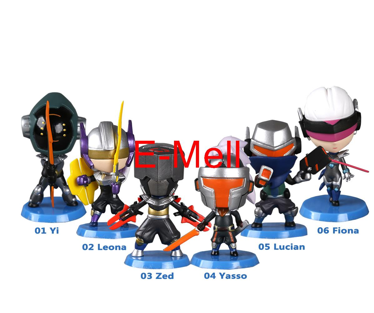 Hot game LOL Cosplay Leona Yi Lucian Fiona Yasso PVC Q-version Garage Kits Action Figures Model Toys