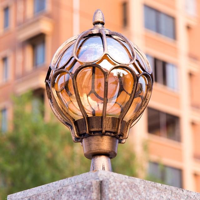 Bronze Aluminum Pillar Lantern Exterior Light Garden Lamp Waterproof Lights Outdoor Lighting Fixtures E27 Bulb TL98