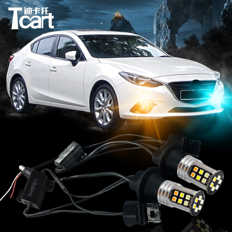 Tcart DRL& turnlight for Mazda 3 2014-2016 accessories daytime running light for mazda 3 yellow turn signal light white DRl 7440 new brand led daytime running light drl for mazda 3 axela 2014 16 with yellow turn signal guiding bar design top quality