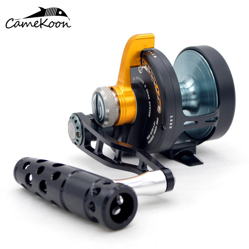 CAMEKOON convencional todo Metal palanca arrastre de agua salada carretes de pesca mano izquierda curricán carretes