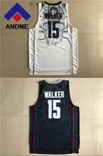 #15 basketball jerseys 2018 NEW #15 Huskies Kemba Walker Home White Navy Blue Uconn College Basketball Jersey size S-XXXL