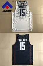 4c03e5c9de38  15 basketball jerseys 2018 NEW  15 Huskies Kemba Walker Home White Navy  Blue Uconn College Basketball Jersey size S-XXXL