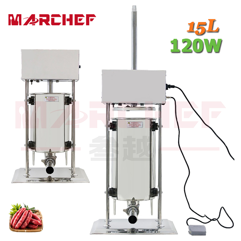 15L Sausage Filler Stuffer Maker With 4 Tubes Stainless Steel Manual Operate 304