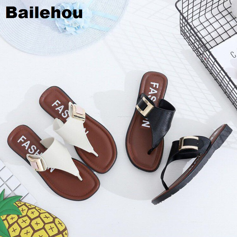 Bailehou Women Flat Casual Slippers Slip On Slides Belt Buckle Beach Sandals Home Flat Flip Flops Shoes Zapatos De Mujer Sapato zapatos mujer black red summer sweet bowtie flat sandals slip toe beach sandals butterfly knot flat sandals shoes plus size 44