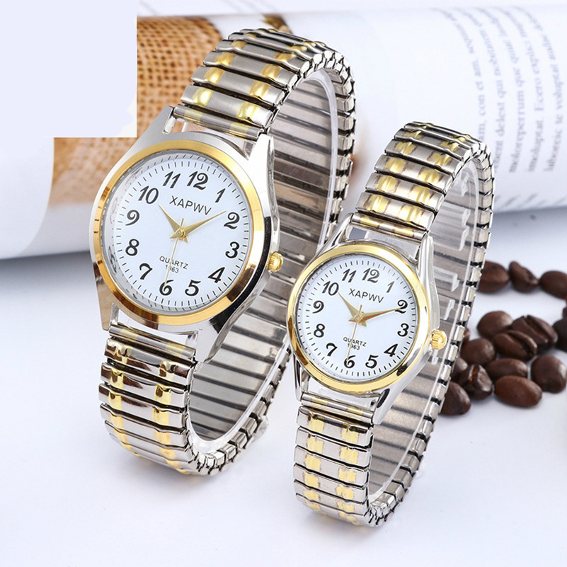 Classic Large Dial Digital Elastic Band Quartz Watch Men And Women Watches Fashion Couple Watch