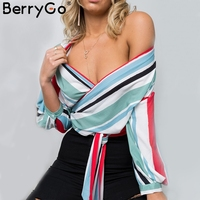 BerryGo Casual Striped V Neck Chiffon Blouse Shirt Women Sexy Off Shoulder Long Sleeve Blouse 2018