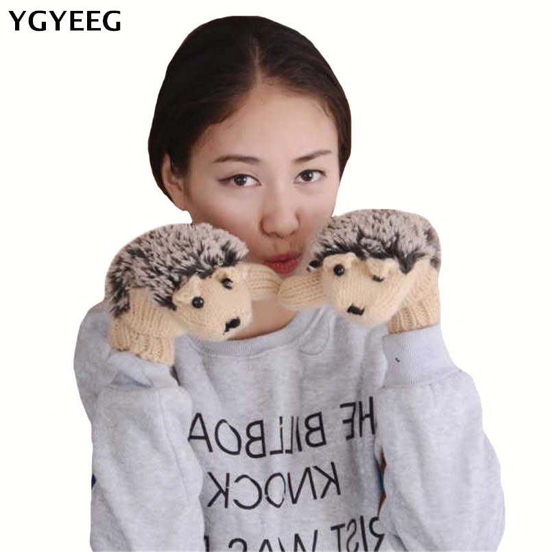 YGYEEG 2019 8 Colors Girls Novelty Cartoon Winter Gloves For Women Knit Warm Fitness Gloves Hedgehog Heated Villus Wrist Mittens