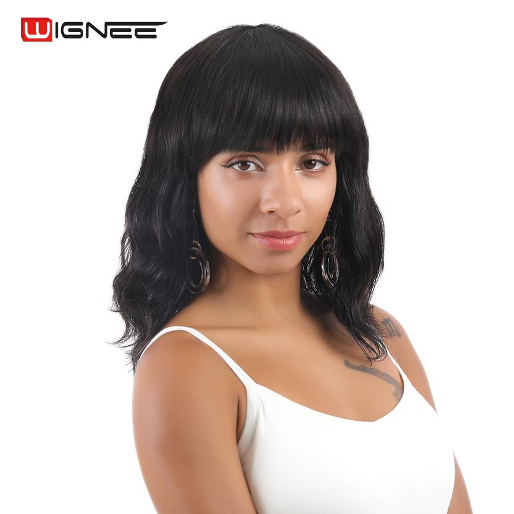 Wignee Natural Wave Brazilian Human Hair Wigs For Women No Smell High Density 150% Short Bob Remy Wig With Free Bangs