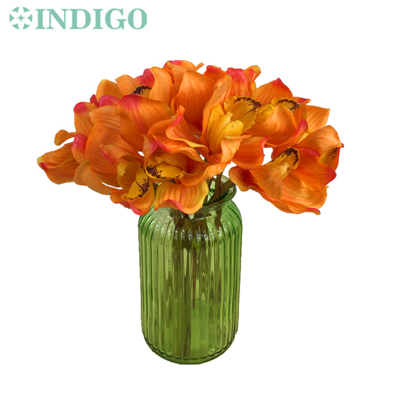 Aliexpress Whole 250pcs Orange Latex Coating Cymbidium Orchid Bunch Flower Real Touch Wedding Party Fake Free Shipping From