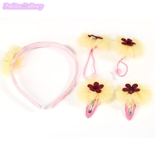 3 Sets 4in1 Kids Cute Headwear Lace Flowers Headband BB Clips Hair Ropes Girls Hair Accessories Styling Decorations