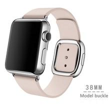 Para apple watch banda moderna hebilla banda para iwatch correa 38mm granada suave de cuero con dos pieza de cierre magnético