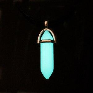 Темно светящийся камень флуоресцентная шестиугольная колонна ожерелье натуральный кристалл светящийся в темноте пуля камень подвеска кож...