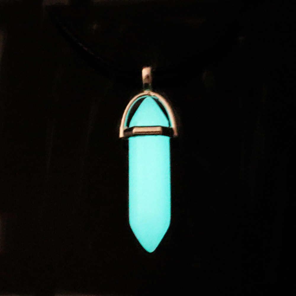 Pedra luminosa escura fluorescente coluna hexagonal colar de cristal natural brilhante no escuro pingente de pedra bala colar de couro