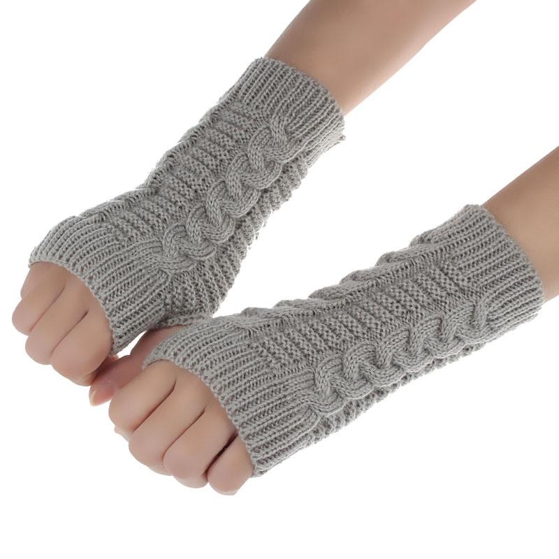 1Pair Fashion Womens Winter Arm Fingerless Screen Gloves Outdoor Sports Warm Gloves Mittens Kniteed Mittens