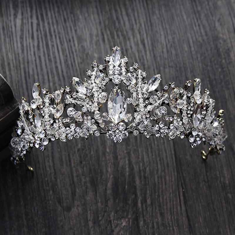 Black Wedding Hairstyles With Crown: European Style Vintage Black Crown For Women Crystal