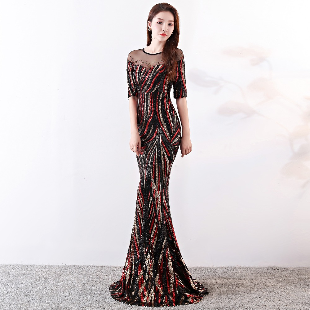 Elegant Crystal Beaded See Through Voile Shor Sleeve Mermaid Long Formal Dresses For Women 2018 Sexy Nightclub Wear Party Dress (5)