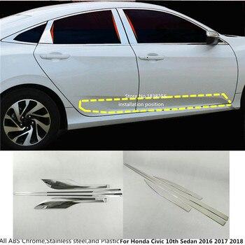 สำหรับ Honda Civic 10th Sedan 2016 2017 2018 2019 รถจัดแต่งทรงผมเครื่องตรวจจับด้านข้างสแตนเลสสตีล Body trim sticks Strips แม่พิมพ์