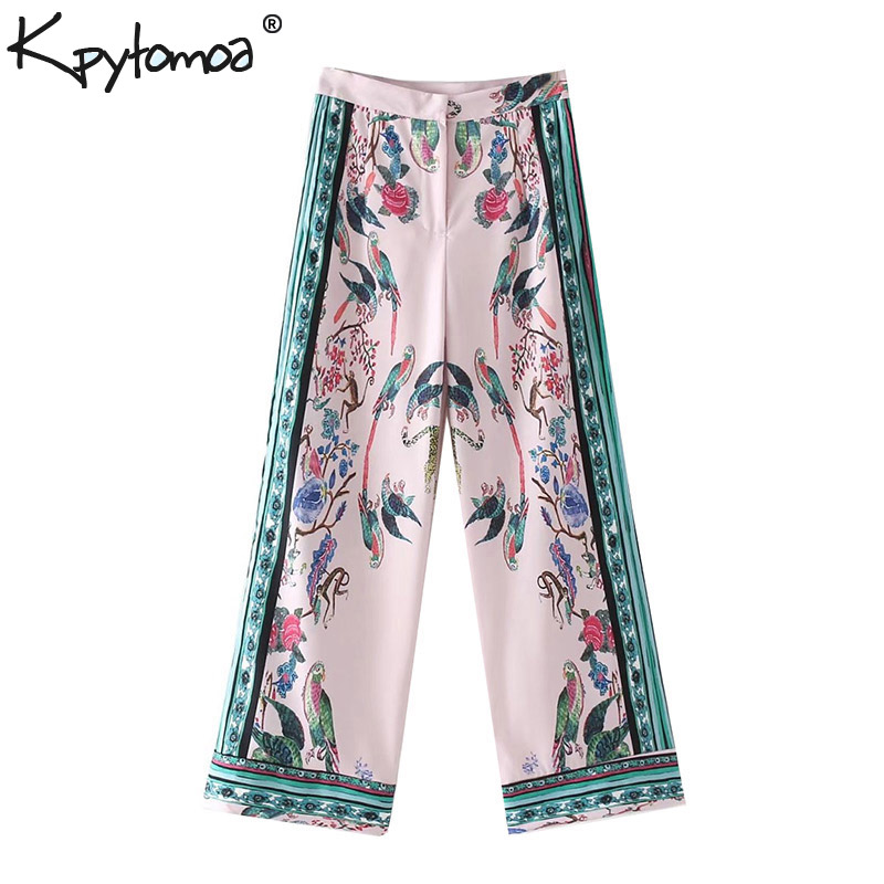 Vintage Ethnic Leopard Bird Print   Wide     Leg     Pants   Women 2019 New Fashion Zipper Fly Loose Ladies Trousers Casual Pantalon Femme