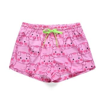цена на Women Summer Shorts Casual Drawstring Waistband Pink pig Print Beach Style Swim Pool with Pocket Loose Female Shorts