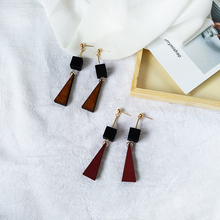 Original hand geometry fashion design change log long triangle earrings to restore ancient ways small squares female earrings