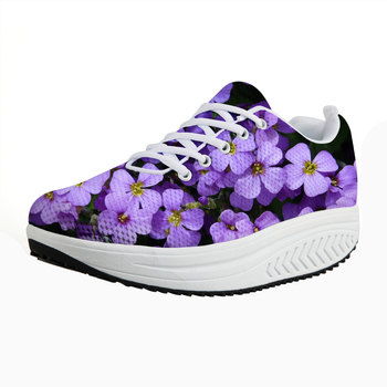 ELVISWORDS Lilac Casual Women Summer Flats Floral Rose Swing Shoe Lace Up Ultralight Height Increasing Platform Loafers